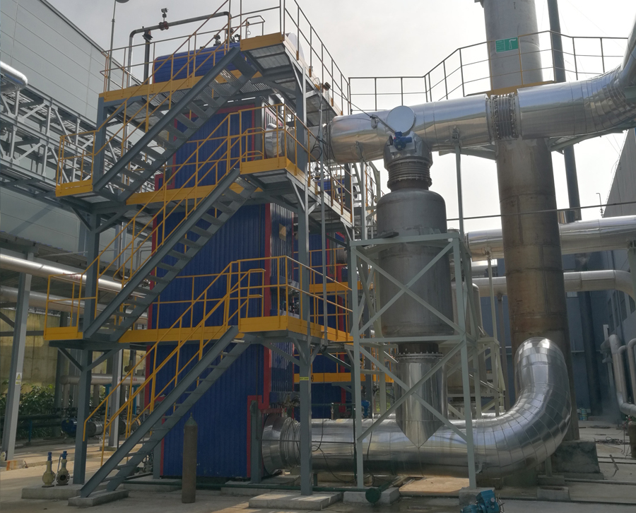 3000kW /4000kW多台沼气发电机组共用1台余热锅炉项目现场